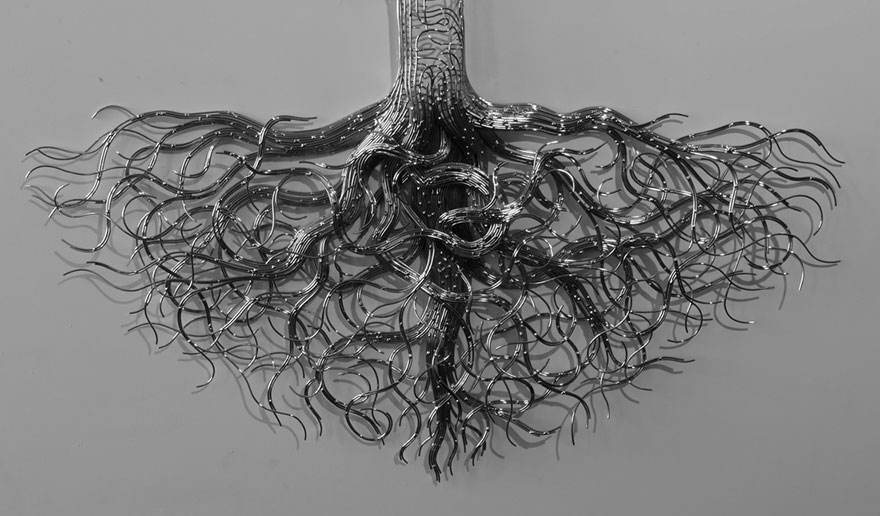 Roots of a tree made up of steel wire