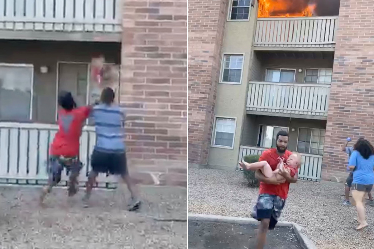 football player catches toddler thrown from burning balcony