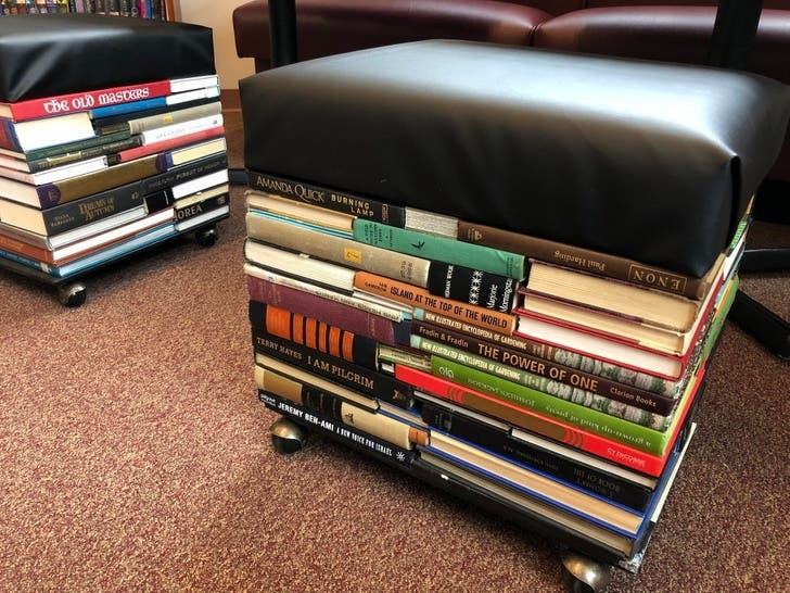 One of the best designs that make the use of old books to support the furniture