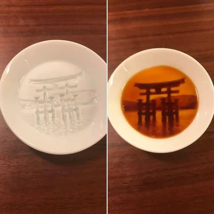 The Shinto shrine at Itsukushima appears when this bowl is filled with soup