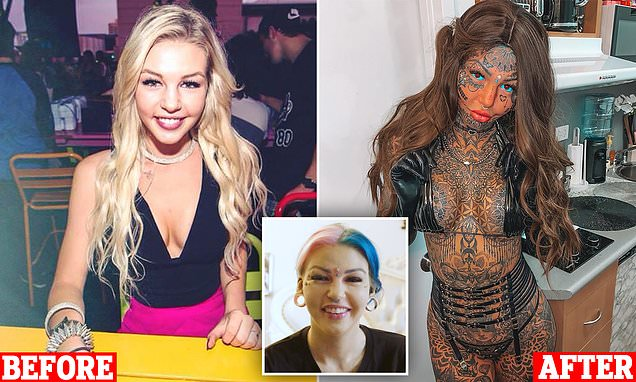 'Dragon girl', 25, who spent $120k on drastic body modifications covers up her tattoos to remind herself what she looks like underneath the ink - before breaking down as she reveals why she hated her old self