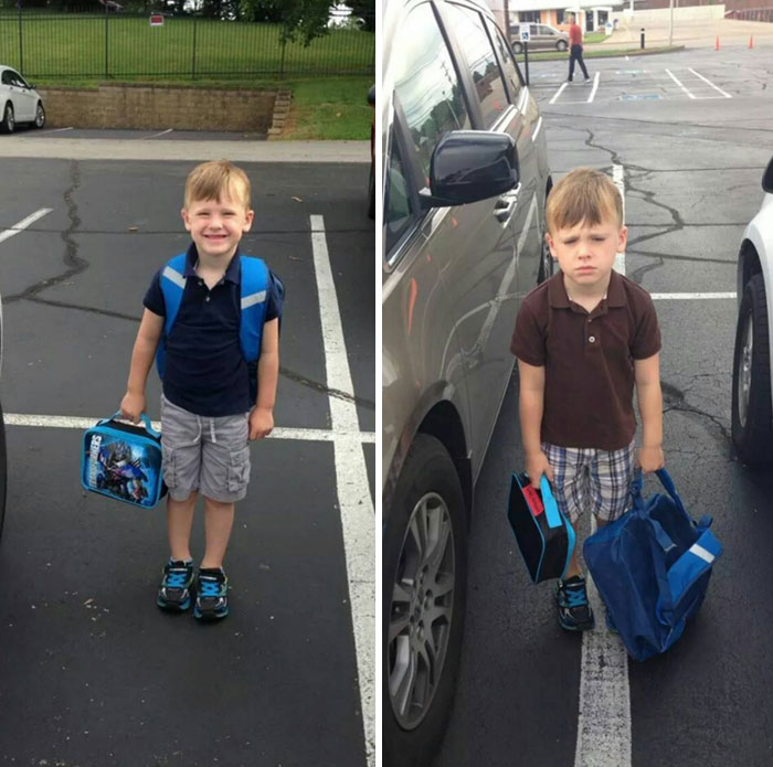 First day vs Second Day at school