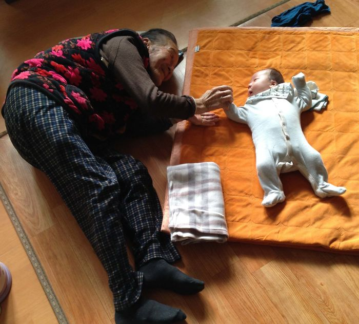 A one-month-old baby and is 97-year-old Korean grandmother