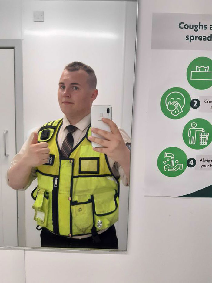 The security guard was soon identified as Ethan Dearman, and the internet showered him with praise and thanks for his wholesome deed