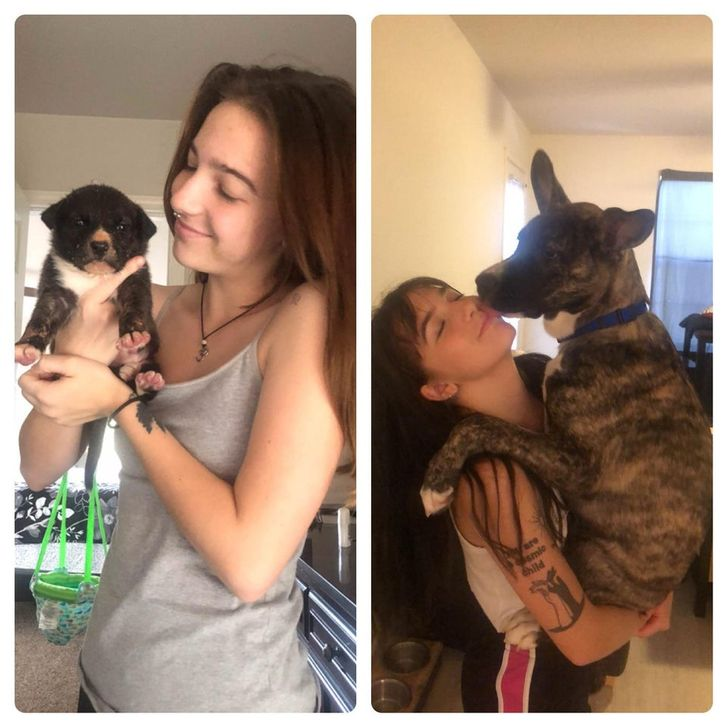 My sister and her dog, Maxo! 1 month to 6 months old