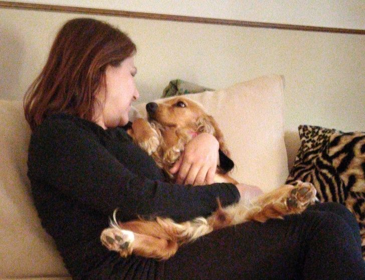 After a lifelong phobia of dogs, my mom seems to be getting over it. This is how she and my dog look at each other